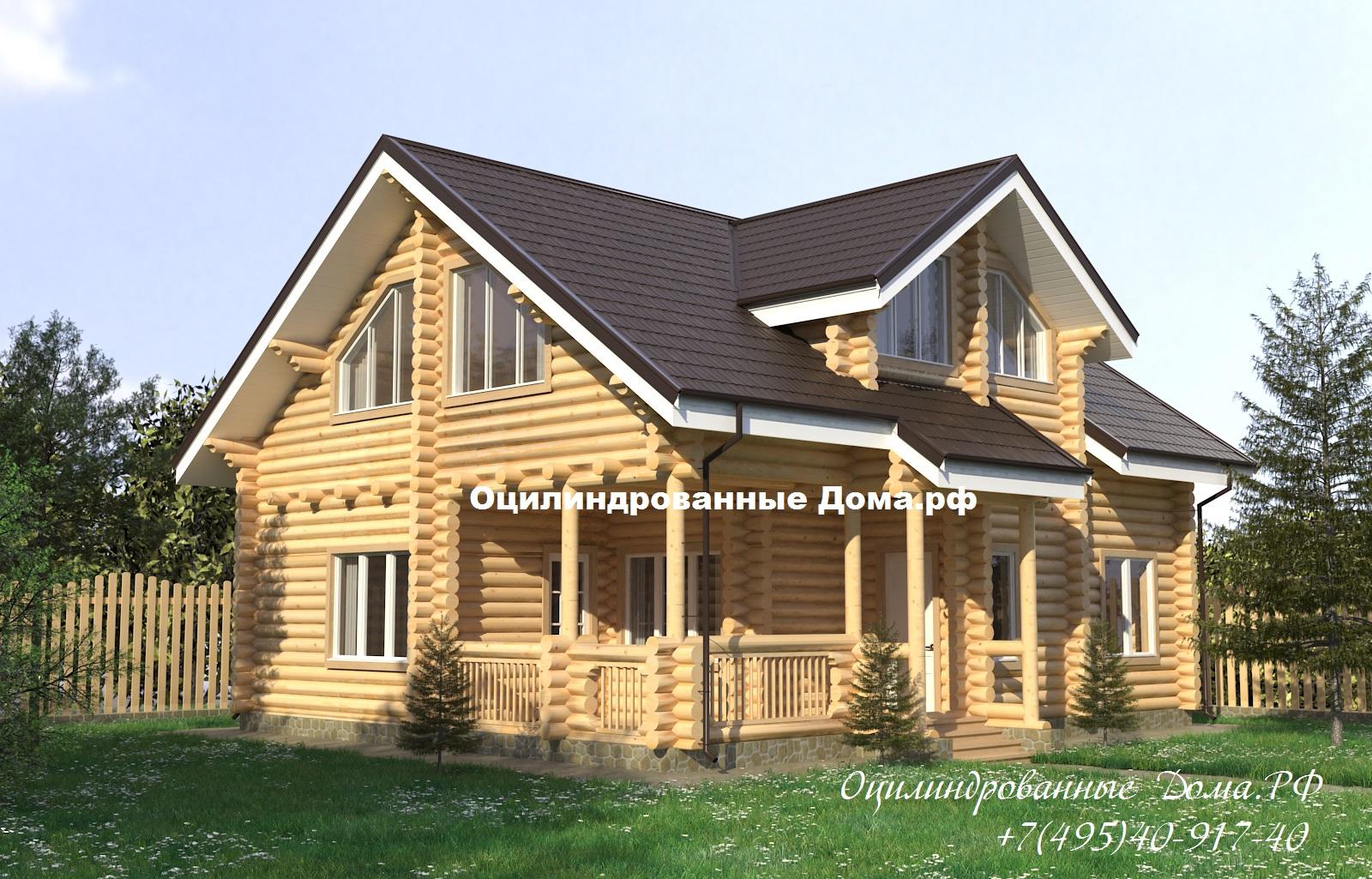 Проект дома из оцилиндрованного бревна ДЕМИДОВО
