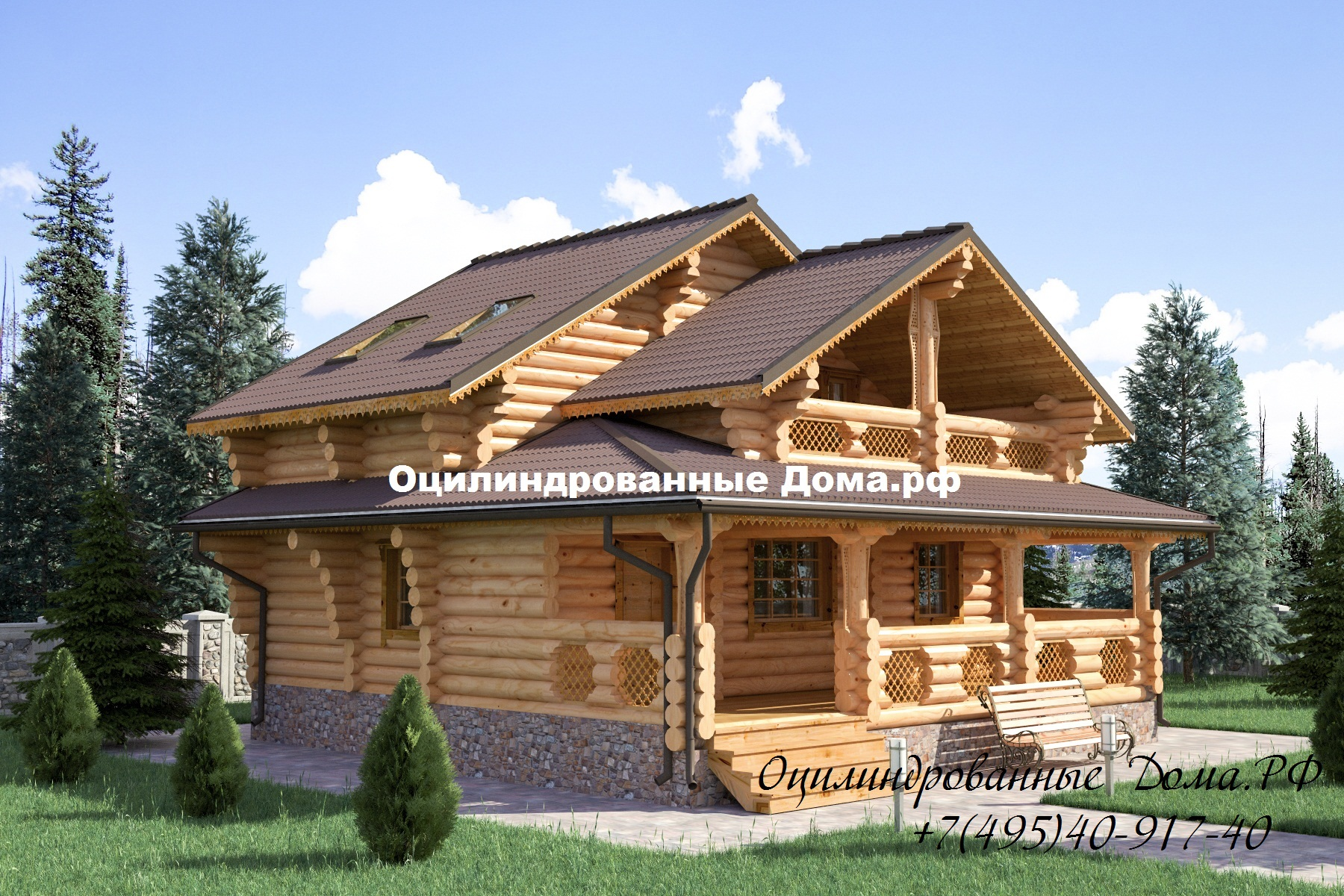 Проект дома из оцилиндрованного бревна РУССКИЙ ТЕРЕМ