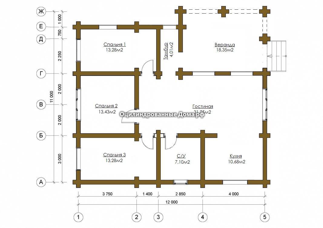 Схема дома из оцилиндрованного бревна Кольчугино