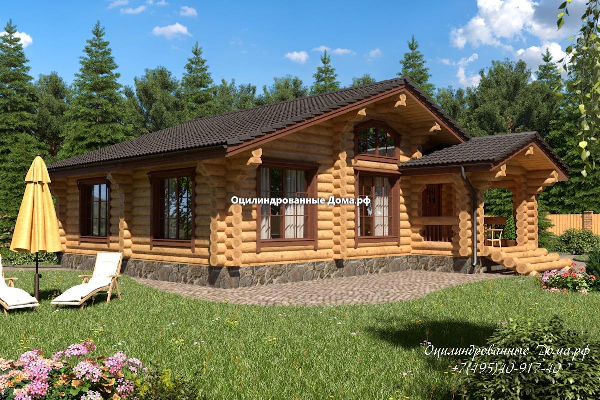 дом-баня из оцилиндрованного бревна 10 х 10,5