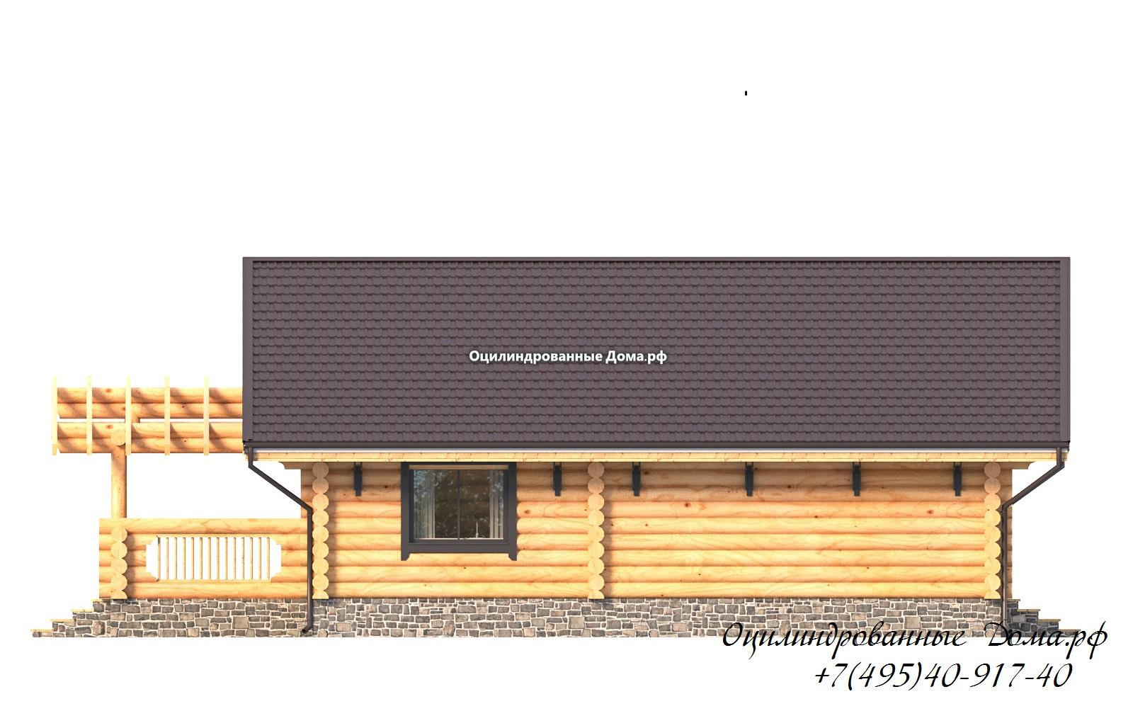 фасад 4 дома из оцилиндрованного бревна в стиле шале Монблан - 125м2