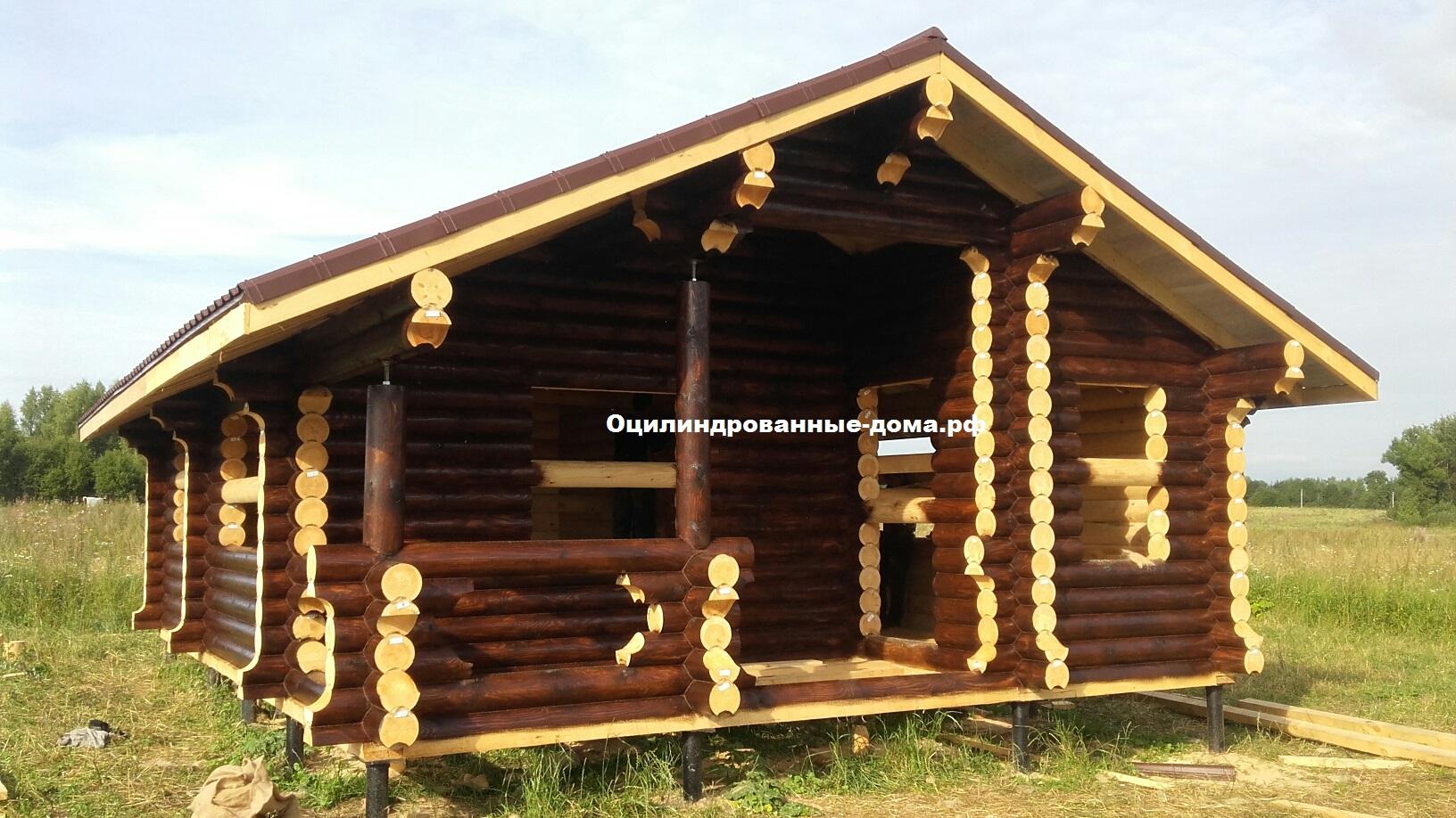 Фото одноэтажного дома из оцилиндрованного бревна  Дачни 2