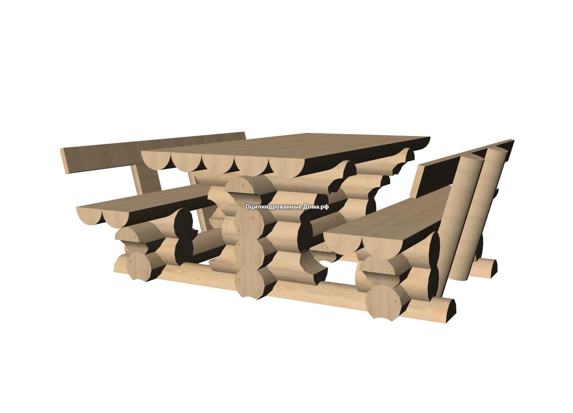 стол со камейкои и спинкой из оцилиндрованного бревна