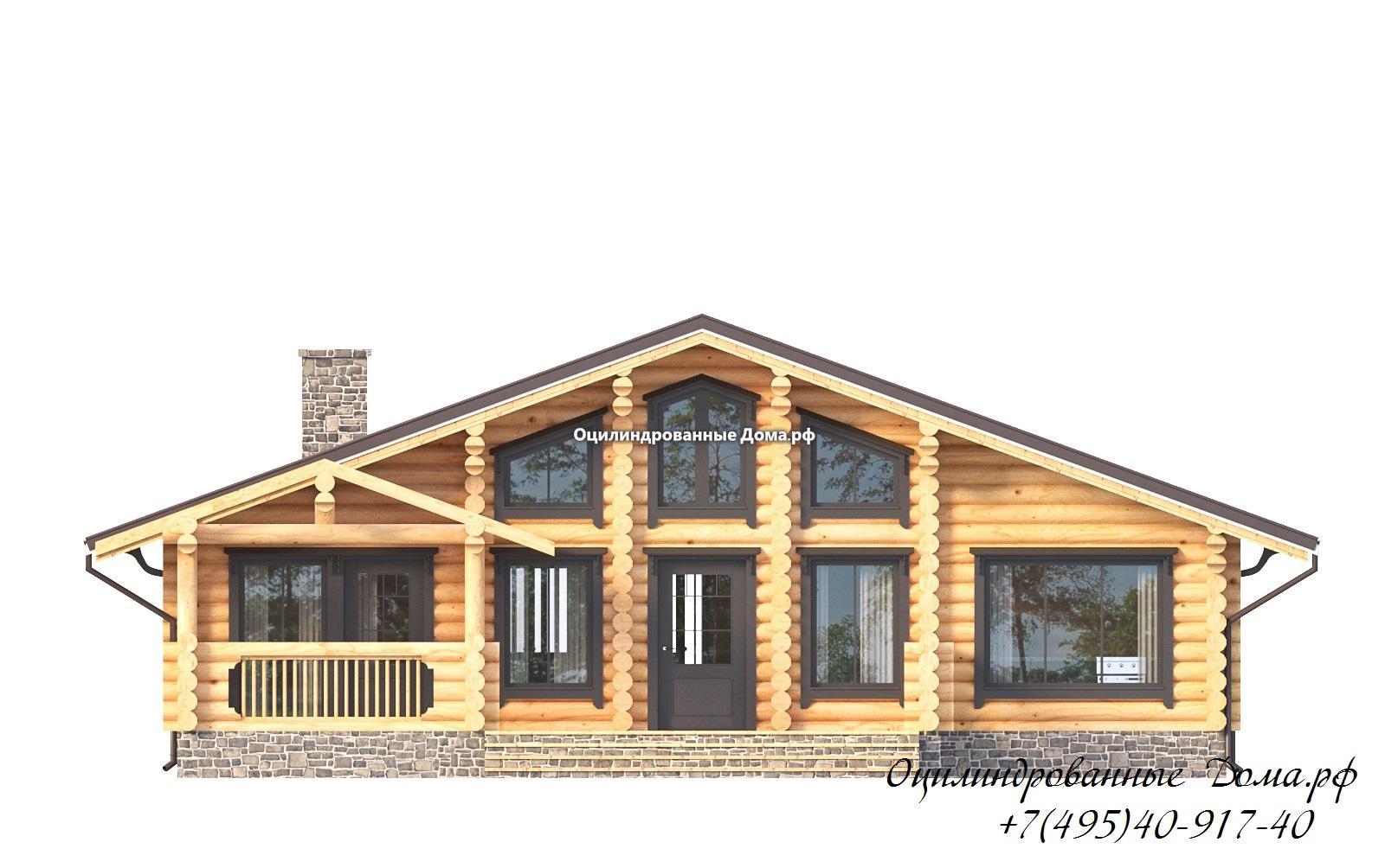 фасад 3 дома из оцилиндрованного бревна в стиле шале Монблан - 125м2