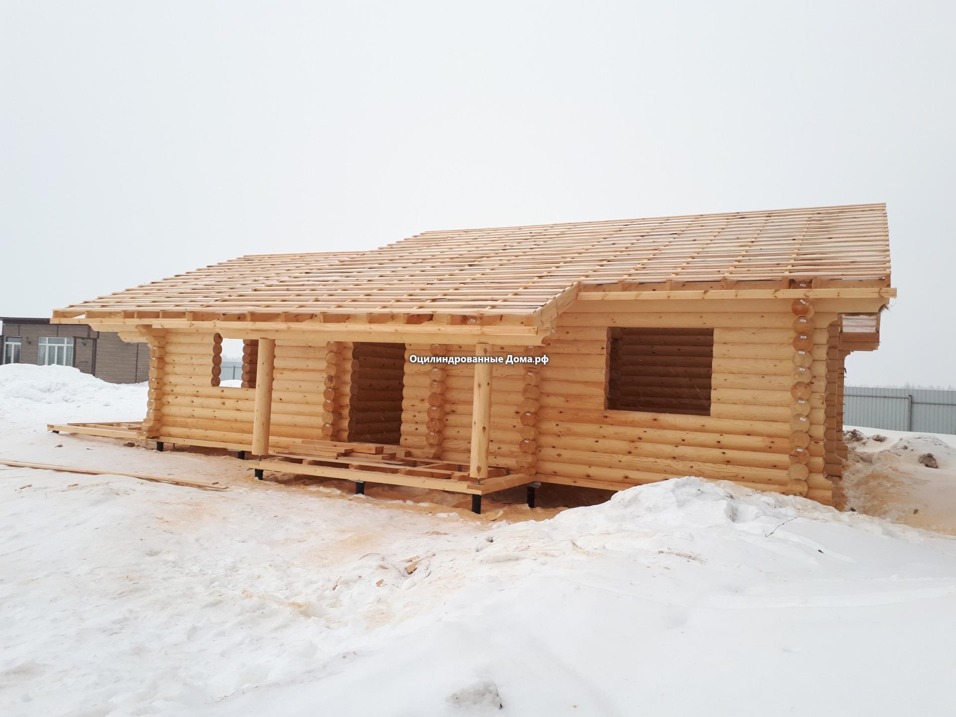 Ансель одноэтажный дом из оцилиндрованного бревна