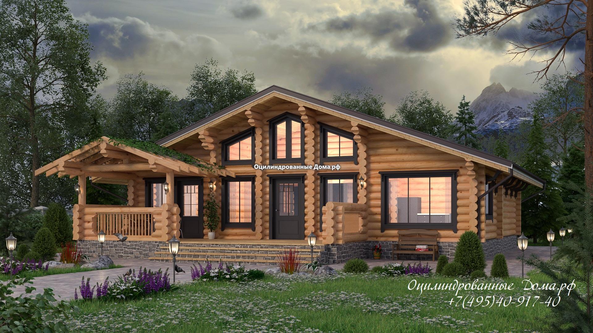 Дом из оцилиндрованного бревна в стиле шале Монблан - 125м2