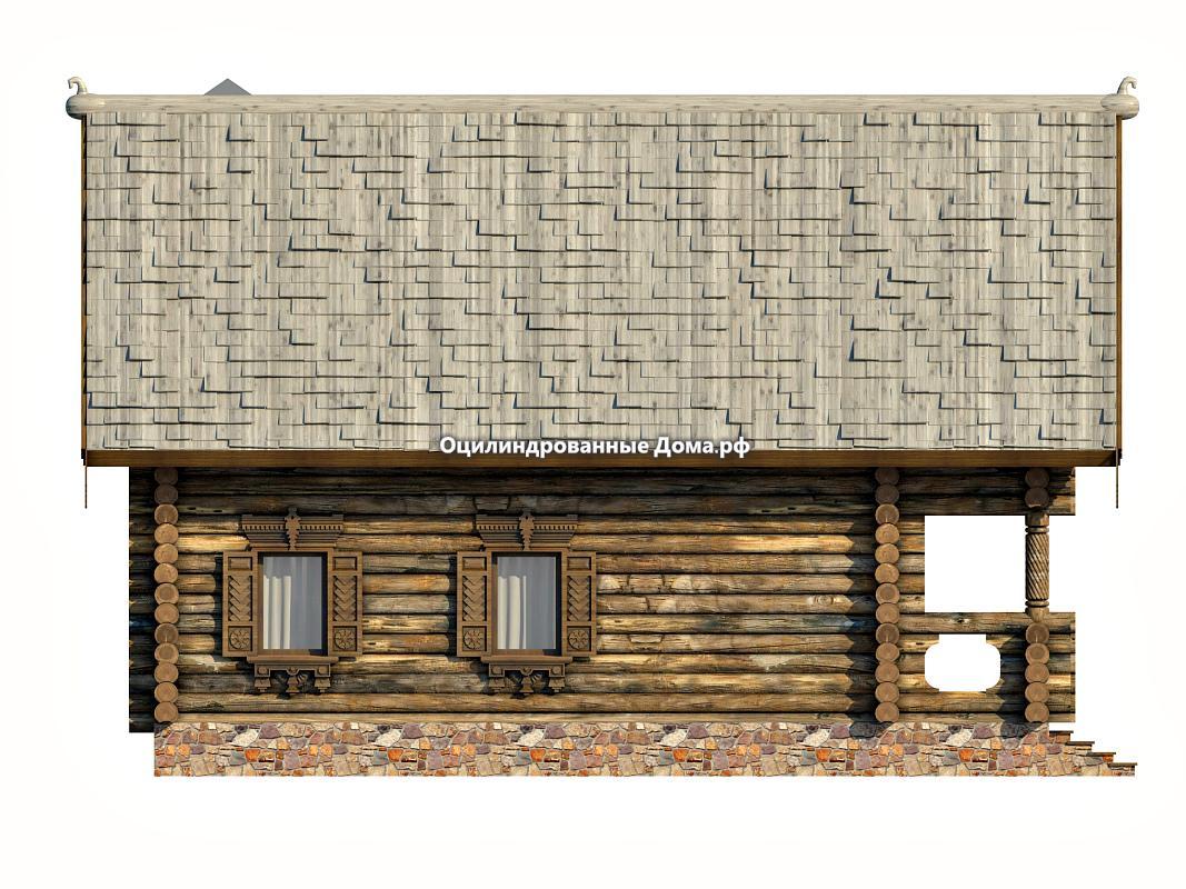 Сруб дома из оцилиндрованного бревна в древнерусском стил