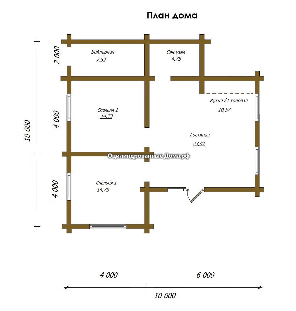 Схема дома из оцилиндрованного бревна Лесная Хижина