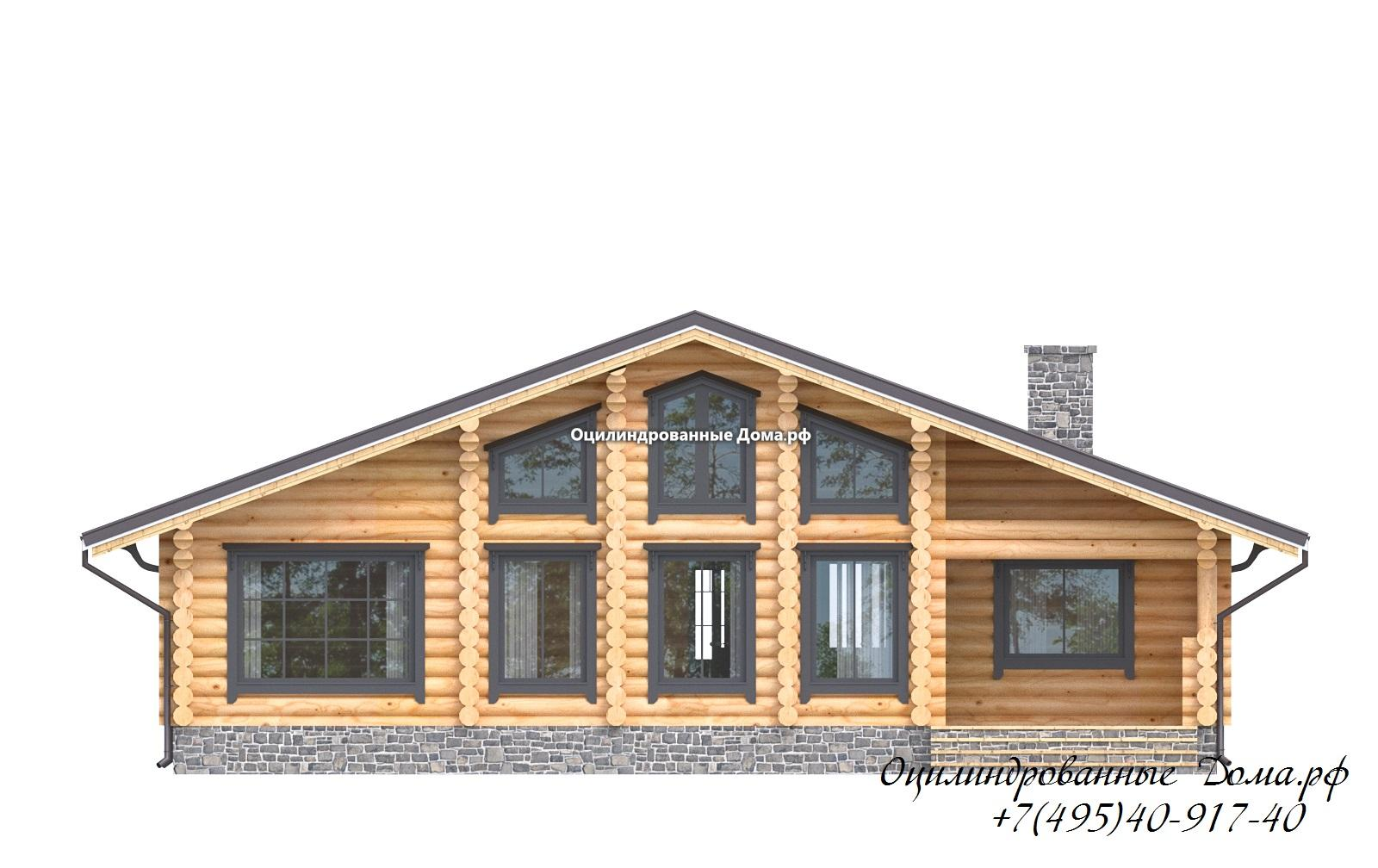 фасад 1 дома из оцилиндрованного бревна в стиле шале Монблан - 125м2