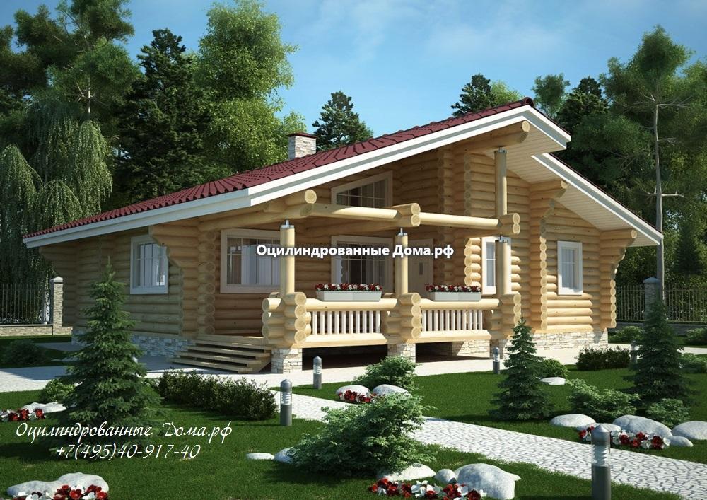 Дом одноэтажный из оцилиндрованного бревна 240мм