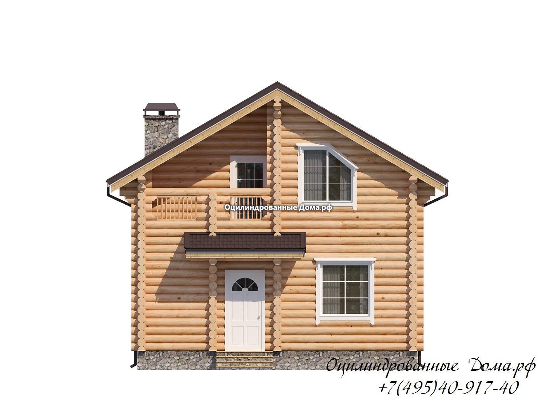 фасад 1 дома из оцилиндрованного бревна 8м х 9м