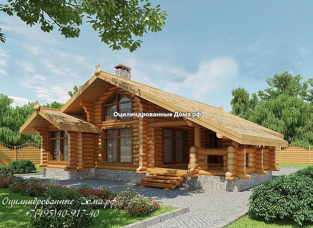 """Одноэтажный дом из бревна """"Калязин"""" - 134м2(12м х 13м)"""