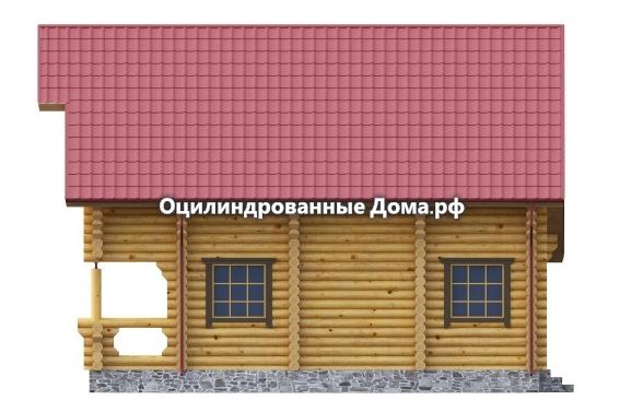 Фасад дома из оцилиндрованного бревна Жемчужина Крыма