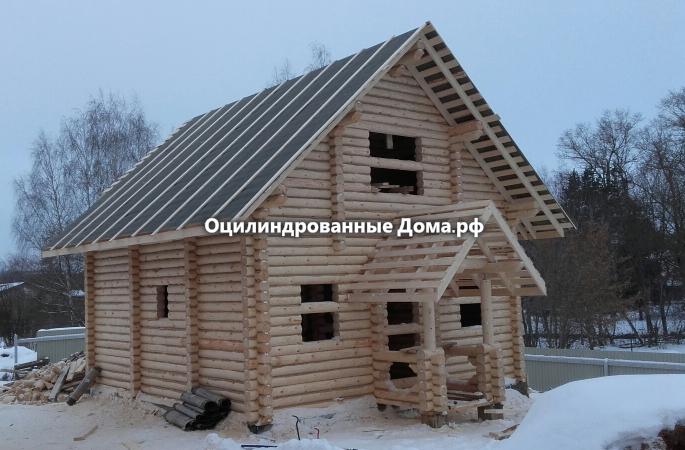 """Дом-баня из бревна с мансардой """"Боровик"""" - 104м2 (8,5м х 7м)"""