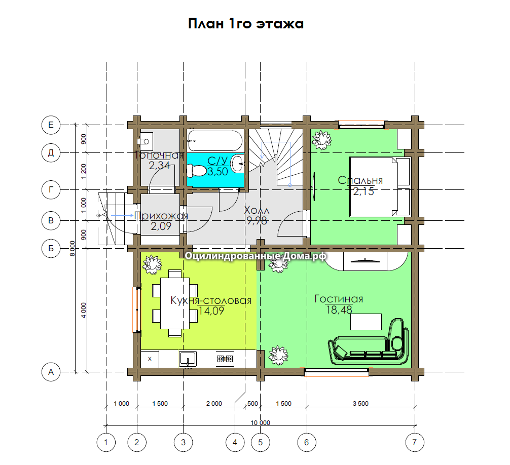 План  1го этажа дома из оцилиндрованного бревна Крекшино