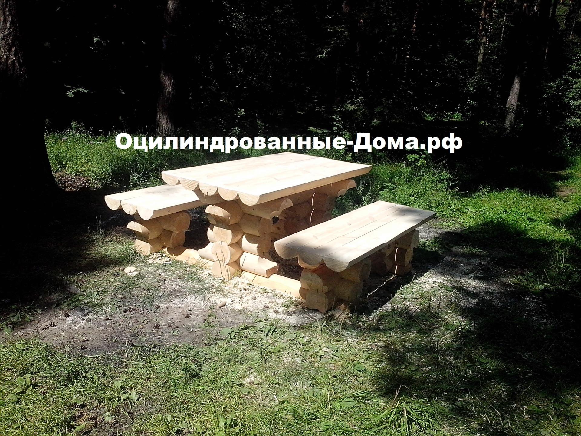 Стол со скамейкой из ОЦБ
