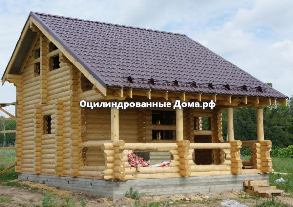 """Дом-баня из оцилиндрованного бревна """"Молоково"""" 81м2(6м х 8м)"""