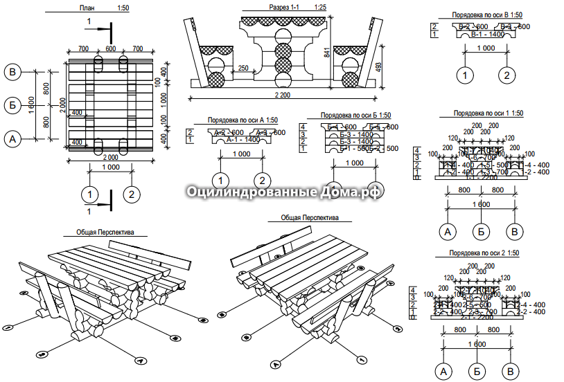 Схема стола из оцилиндрованного бревна