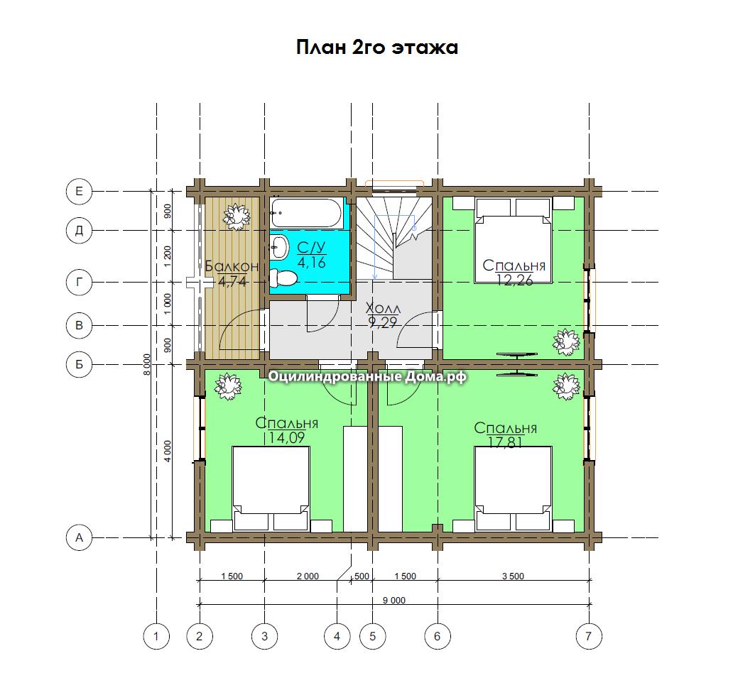 План 2го эта дома из оцб