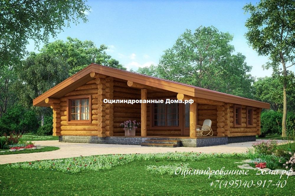 """Дом одноэтажный из оцилиндрованного бревна  """"Лесная Хижина""""- 84м2 (10мх10м)"""