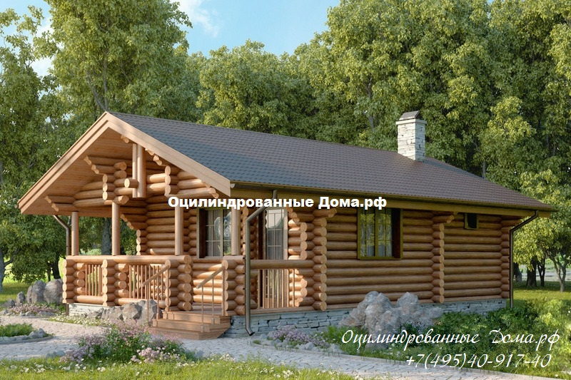 "Дом одноэтажный из бревна ""Дачник"" - 46 м2 (6м х 8м)"