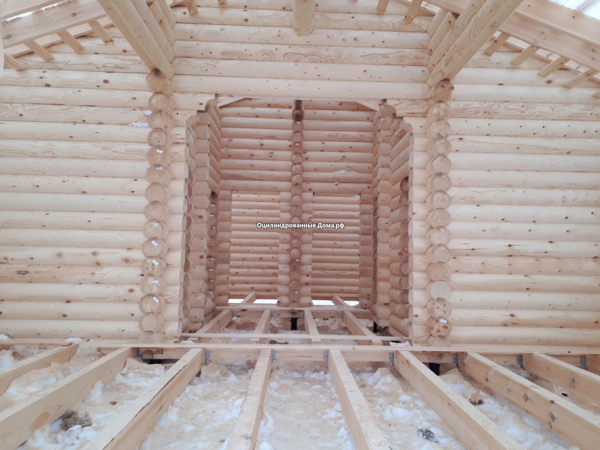 дом-баня из оцилиндрованного бревна 8 х 14
