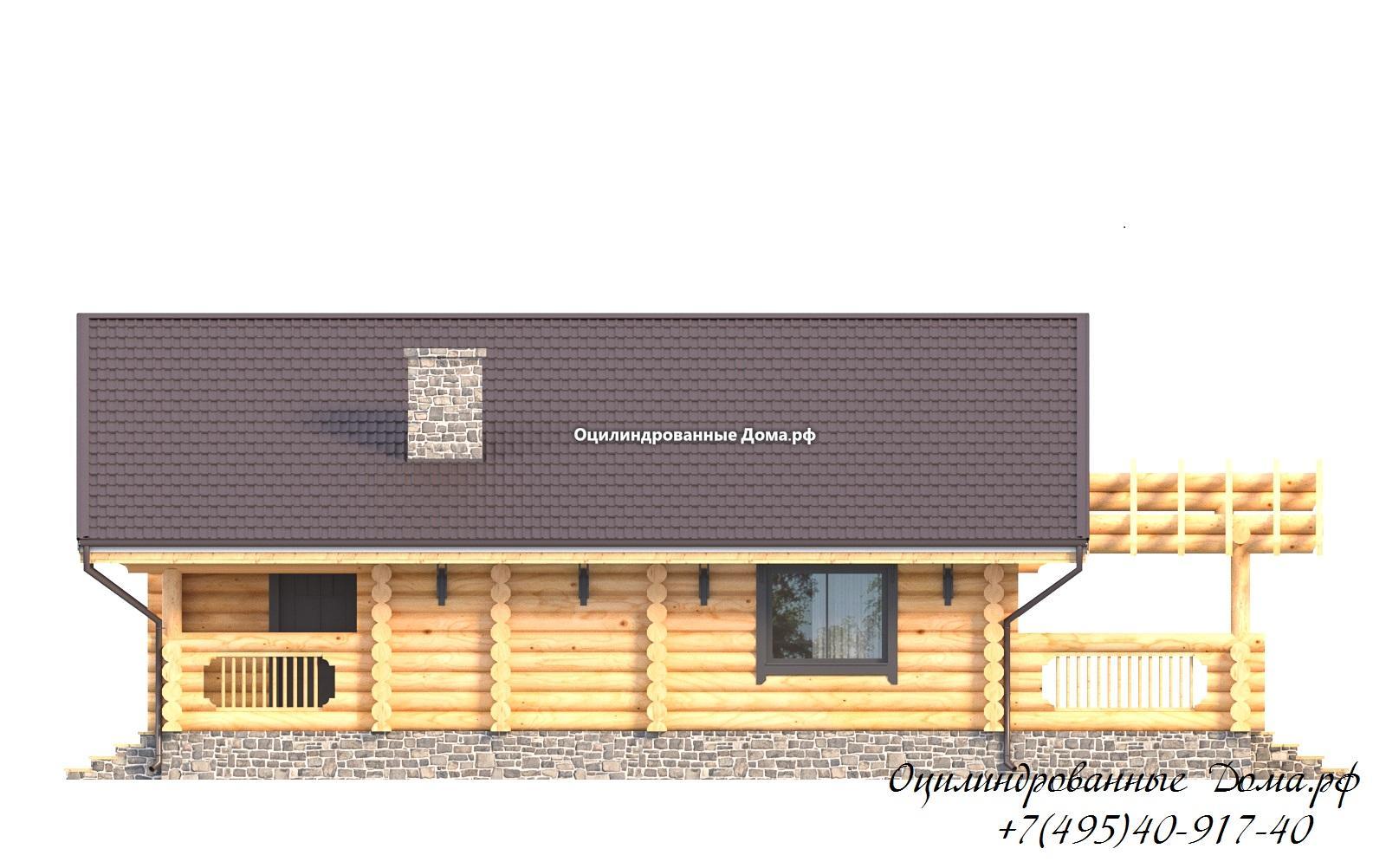 фасад 2 дома из оцилиндрованного бревна в стиле шале Монблан - 125м2
