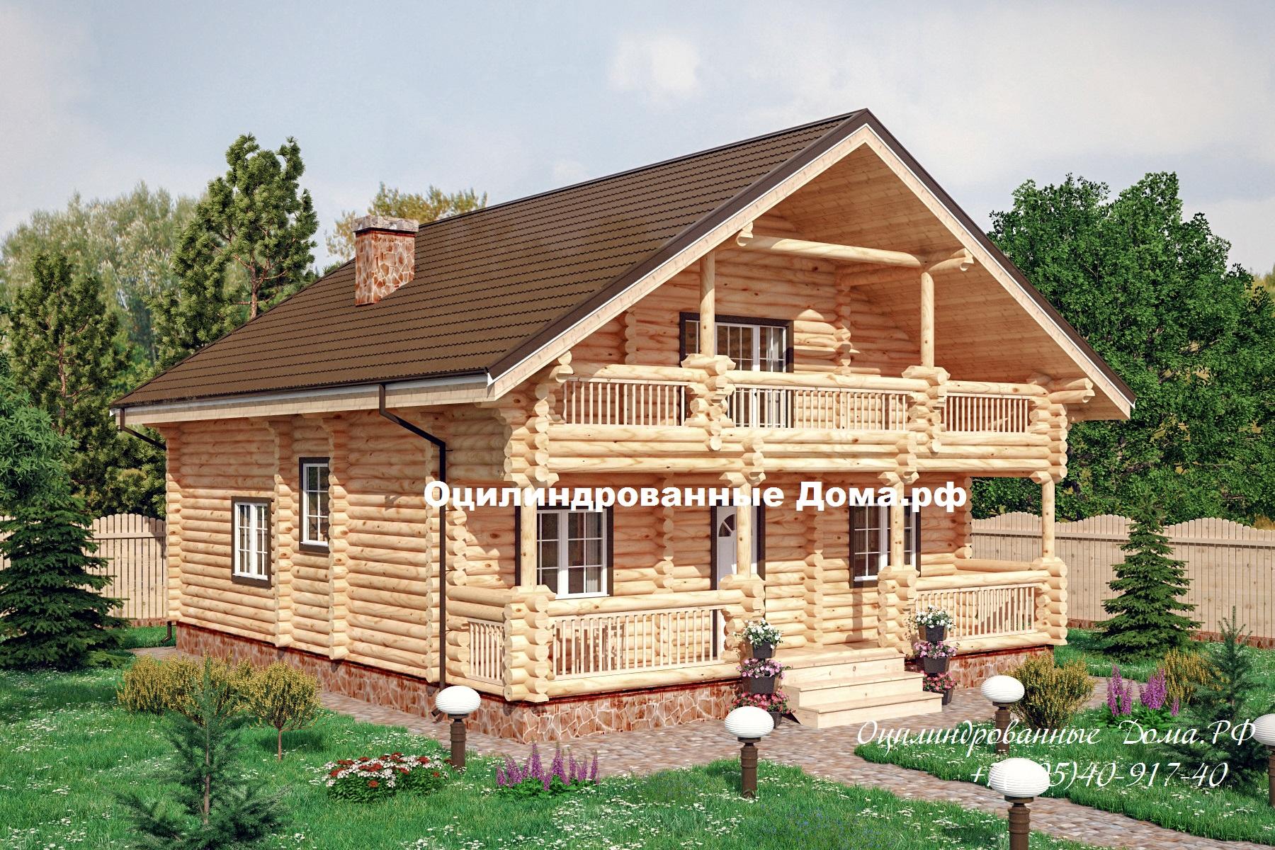 Проект дома из оцилиндрованного бревна БЕЛЬСК